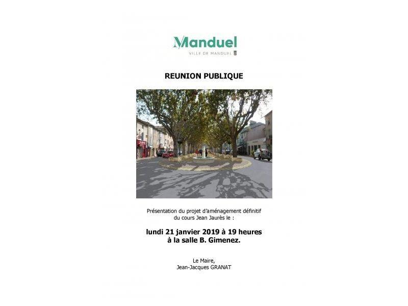 Réunion publique 21 janvier 2019 projet d'aménagement définitif cours J. Jaurès