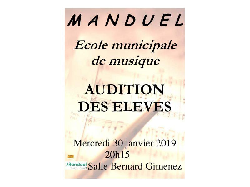 Audition élèves de l'école de musique 30 janvier 2019