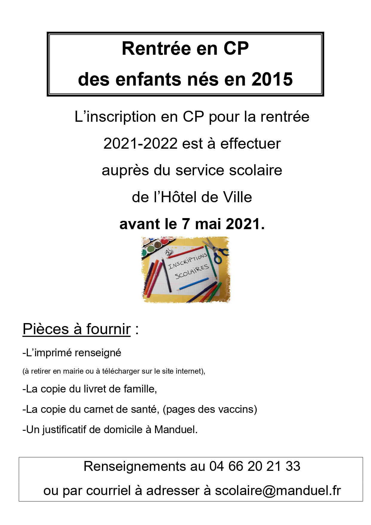 Affiche inscription CP enfants nés en 2015 page 0001